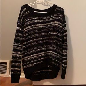 Black and white wide neck sweater